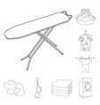 dry cleaning equipment outline icons in set vector image vector image