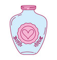 full color mason jar with heart sticker and vector image vector image
