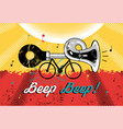 funny retro grunge poster bike with klaxon vector image vector image