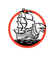 galleon ship wolf on bow circle retro vector image vector image