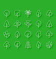 geometric trees simple paper cut icons set vector image vector image