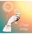 Hand holding a glass of tipple vector image vector image