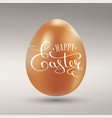 happy easter calligraphy inscription on golden vector image vector image