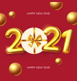happy new 2021 year realistic 3d golden sign vector image vector image