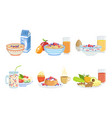 healthy breakfast dishes set classical menu vector image vector image