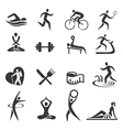Healthy lifestyle sport icons vector image vector image