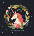hello fall autumn unicorn on black background vector image vector image