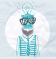 hipster skull background vector image vector image