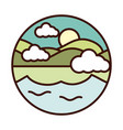 landscape nature lake sun and mountains line vector image vector image