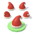 low poly christmas hat vector image vector image