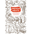 meat butchery shop beer in mug beef and pork vector image vector image