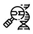 molecule and magnifier icon outline vector image vector image