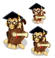 monkeys in academic cap animal vector image vector image