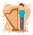 music festival live with man playing harp vector image vector image
