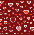 red pattern with hearts chaotic pattern hearts vector image vector image