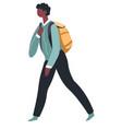 school boy with satchel walking pupil with bag vector image