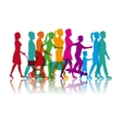 set colored people walking and skate vector image vector image