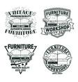 set vintage furniture workshop emblems designs vector image vector image