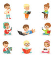 small kids using modern gadgets and reading books vector image vector image