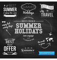 Summer design on chalkboard background Set of vector image
