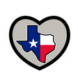 texas flag map inside heart icon vector image vector image