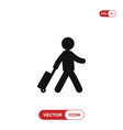 traveler with a suitcase icon vector image vector image