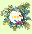 Tropical floral summer beach party invitation with vector image vector image