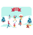 winter banner with people vector image vector image