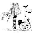 witch with wizard hat in hand in halloween costume vector image