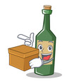 with box wine bottle character cartoon vector image