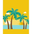 Tropical beach with cloud and sunset vector image