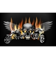 fiery motorcycles on the background of a skull vector image