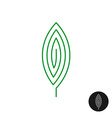 One green leaf linear style logo Maze mystery vector image