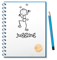 A notebook with a person juggling at the cover vector image vector image