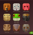 animal faces for app icons-set 13 vector image vector image