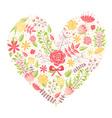 Beautiful flower heart postcard vector image vector image