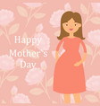 beautiful pregnant woman on rose floral background vector image vector image
