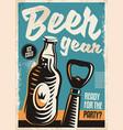 beer bottle and opener retro poster design vector image vector image
