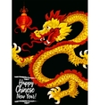 Chinese New Year gold dragon greeting card design vector image vector image