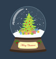 christmas snow globe with christmas tree and gifts vector image