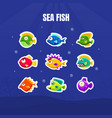 cute colorful tropical fishes collection exotic vector image vector image