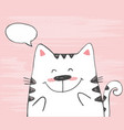 cute sketch cat with in a cloud vector image