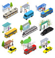 different types city public transport 3d icons set vector image vector image