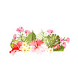 exotic flowers bouquet of color bud garland label vector image vector image