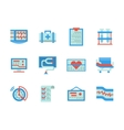 Flat color design healthcare icons vector image