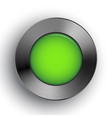 green button metal texture realistic shadow vector image