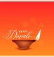 happy diwali beautiful orange background with vector image vector image