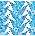 Intricate Blue Leaves and Flowers Pattern vector image
