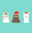 llama alpaca sloth face set red santa hat merry vector image vector image