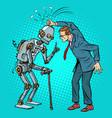man versus old robot vector image vector image